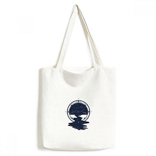 Bolsa de lona com estampa de arte da floresta Stars Creek bolsa de compras casual