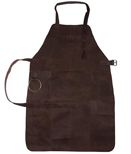 Michael Heinen - Grembiule Premium in pelle, grembiule da cameriere, in pelle di bufalo, per barbecue, con protezione da calore, grasso e scintille