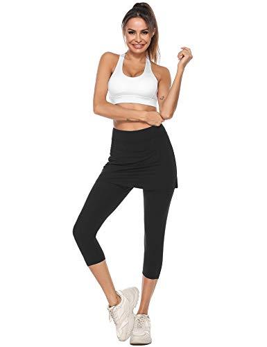 iClosam Falda Pantalon Mujer 2 En 1 Transpirable Falda Deportiva para Mujer con Bolsillos Tela Elástica para Tenis Golf Ejercicio(XL, Negro)