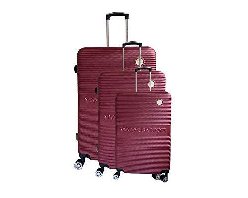 Juego de 3 maletas Milan, ABS, 75 cm, 65 cm, 55 cm, burdeos