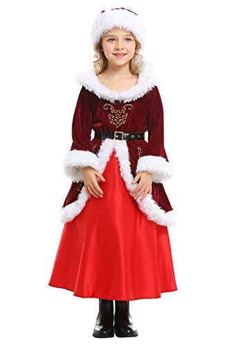 Harrypetter Kinder Mädchen Weihnachtskostüm Miss Santa Claus Faschingskostüm Weihnachten Little Helper Langes Kleid mit Hut Gr. M/Höhe 120/130 cm, rot