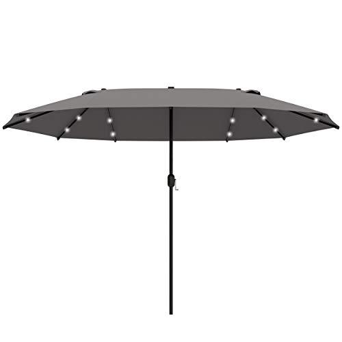 Outsunny 4.4m Double-Sided Sun Umbrella Garden Parasol Patio Sun Shade Outdoor with LED Solar Light, NO BASE INCLUDED, Dark Grey