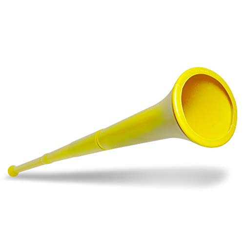 """THE ART OF NOISE   Go out there and show your team spirit. Our 28"""" Yellow Stadium Horn is not like the usual pathetic noisemakers you see at sport games. This is for true fans. Plus, this collapsible vuvuzela horn is convenient--because it can be sho..."""