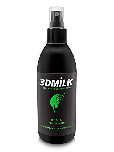 3DMilk Basic, spray adesivo per stampante 3D, colla per una migliore aderenza del letto di stampa, prodotto in Germania, adatto per ogni piastra di stampa, ecologico, non tossico, lavabile, 250 ml