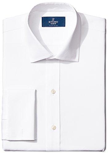 """Marque Amazon - Buttoned Down Chemise à manches courtes, en coton Supima, col Italien, coupe ajustée, poignets mousquetaires, sans repassage, pour homme, Blanc (white), 15.5"""" Cou 34"""" Manche"""