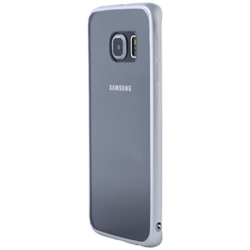 Ultratec Cover Hybrid per Smartphone/Guscio con Bordo colorato in TPU per Samsung S6 Edge, incl. Custodia Protettiva con Cerniera Lampo, Trasparente/Argento