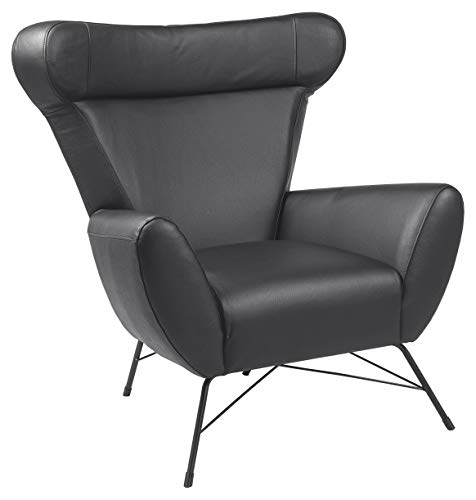 Amazon Brand - Movian Galga - Silla relax, 90 x 105 x 98 cm (largo x ancho x alto), piel/serraje negra