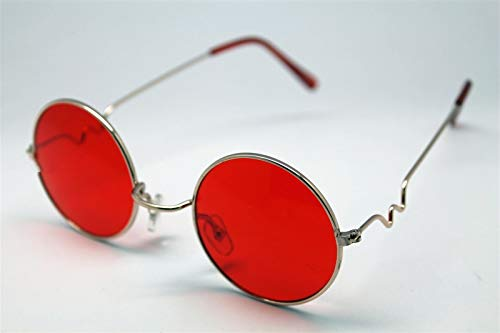 Red Round Sun Glasses Trigun Vampire Cosplay Gold Frames Steam Punk Hippie #LU01