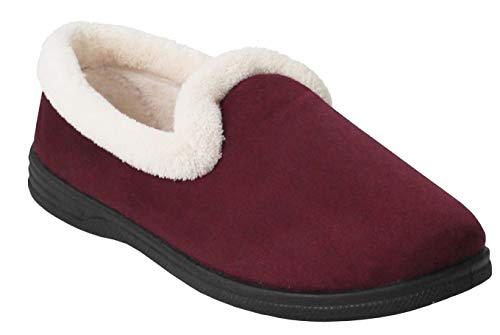 Cushion Walk New Ladies Slip On Winter Fleece Lined Warm Hardsole Flower Mules Slippers Sizes UK 4-8 (7 UK, Burgundy)