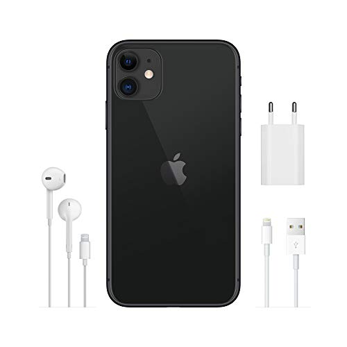 Apple iPhone 11 (64Go) - Noir (Comprend EarPods, Câble Lightning vers USB, Adaptateur Secteur USB)(Comprend EarPods, Câble Lightning vers USB, Adaptateur Secteur USB)