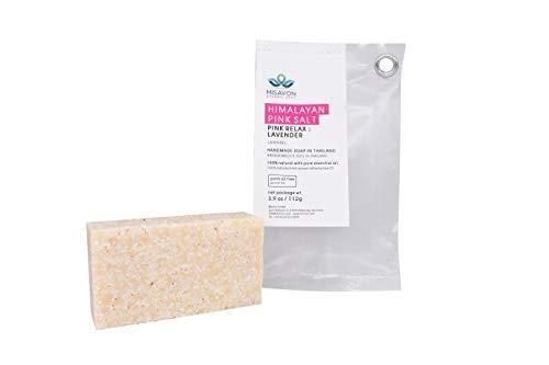 MISAVON Handseife PINK RELAX : LAVENDER- Naturkosmetik mit Himalaya Rose Salz, 100% Naturseife mit ätherischen Ölen, Handgemacht, 112g