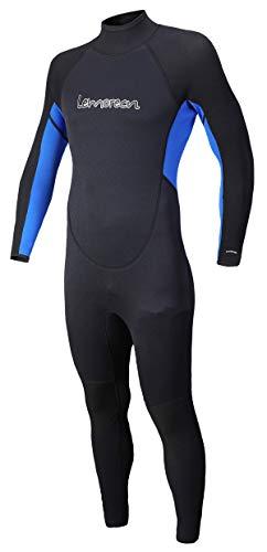 Lemorecn Mens Wetsuits Jumpsuit Neoprene 3/2mm and 5/4mm Full Body Diving Suit for Men and Women(3033blacklightblue-M)