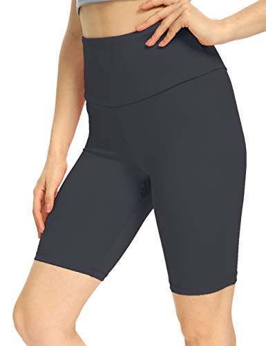 IOJBKI Workout Yoga Shorts for Women High Waist Tummy Control Compression Exercise Running Biker Shorts with Pockets(CL110-Grey-L