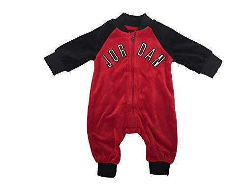 Jordan Infant Baby Velour Coverall (Gym Red(555644-R78)/Black, 6 Months)