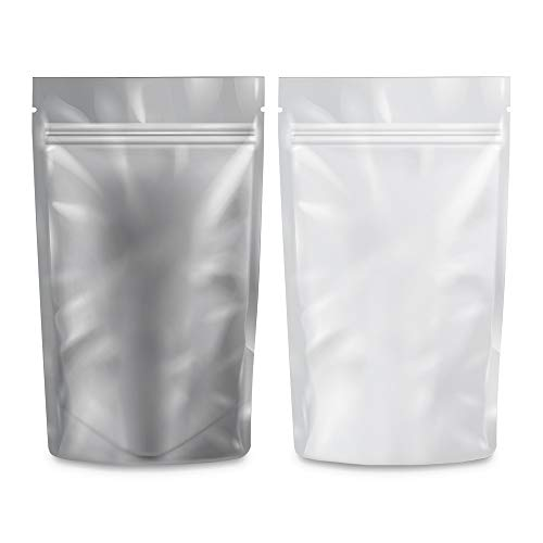 """Loud Lock Mylar Bags Smell Proof -1000 Pack (White/Clear, 1/4 Ounce 6.7""""x4"""") - 6mil Thickness Foil Bags - Mylar Bags For Food Storage - Resealable Bags - Dry Herb Edible Packaging"""