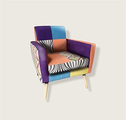 VOLERO' SHOPPING ONLINE, Poltrona Patchwork Design, Modello Nausicaa, Rivestimento in Stoffa e Velluto Multicolore, Struttura in Legno.