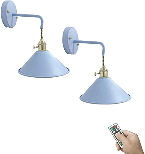 LUFISH 2-Pack Multi-Function Led Remote Control Battery Run No Cord Lamp Black Metal Shade Wall Sconce for Aisle Loft Wall Decor-Dimmable Control,Battery Not Included (Color : Blue-2pack)