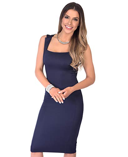 KRISP 6872-NVY-20 Damen Stretch Kleid Etuikleid (Marineblau, Gr.48)