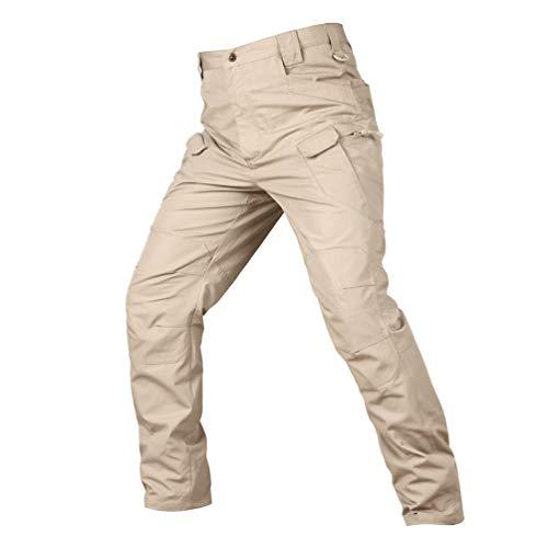 YuanDiann Homme Militaire Tactique Camouflage Pantalon Multipoches Casual Outdoor Cargo Combat Armée Pantalon Slim Fit Imperméable Randonnée Trekking Chasse Montagne Pantalon Kaki XL