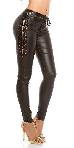 Koucla Extravagante Lederlook Hose - Wetlook Pants Skinny mit Schnürung Leggings Schwarz Weiß Beige Rot Gr. S - XL (M, Schwarz)