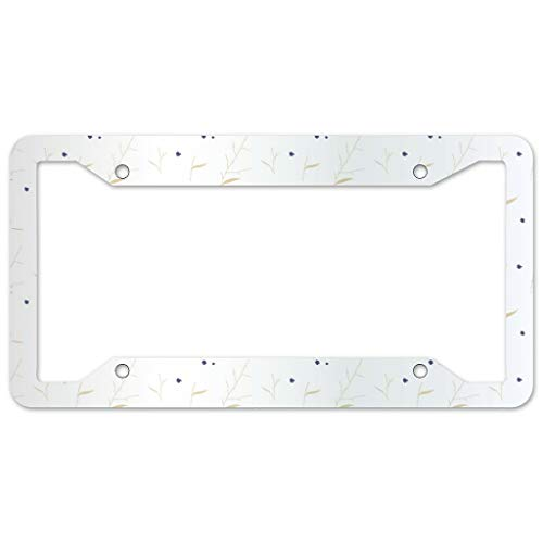 Bohohobo Floral Pattern License Plate Frame 4 Pieces Design License Plate Frame With 4Holes Fite For Home white 16x31cm