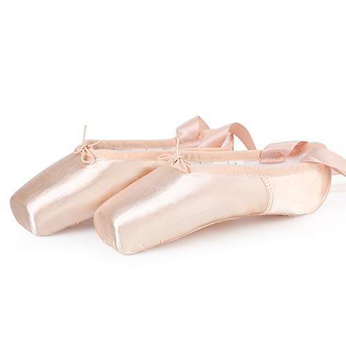 Satin Ballet Pointe Shoes Professional Pink Dance Shoes with Silicone Toe Pads and Sewn Ribbon for Girls Women 5.5 UK(41 EU)