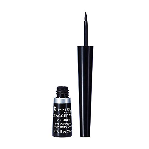 Rimmel London Exaggerate Automatic Eyeliner Waterproof - Delineador de Ojos Retráctil, Tono 001 Negro (Black), 0.28 gr