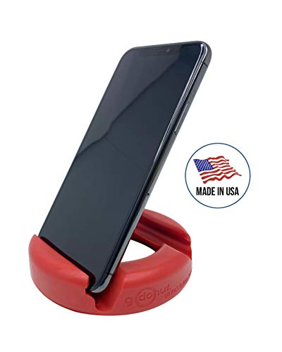 GoDonut Phone and Tablet Stand Holder | Stands Compatible with Apple iPad, iPhone, Samsung Galaxy, LG, Kindle Fire Tablets and Mobile Cell Phones | Holders Multi Angled and Colorful (Red)