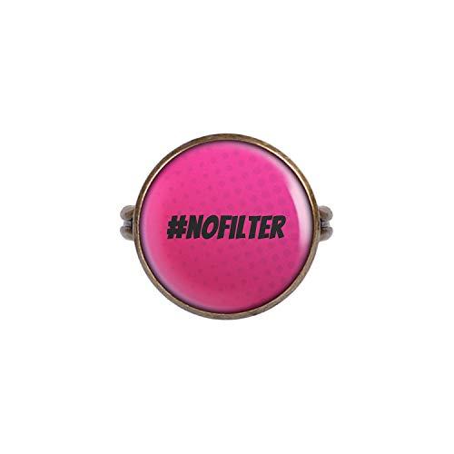Mylery Ring mit Motiv Hashtag # No Filter Pink Bronze 16mm