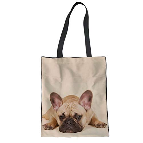 AFPANQZ Cute 3D Dogs French Bulldog Print Shoulder Handbags Bookbag Womens Girls Tote Bags with Pocket Outdoor Canvas Shopping Daily Shoppers Tote Cloth Bags Light Brown