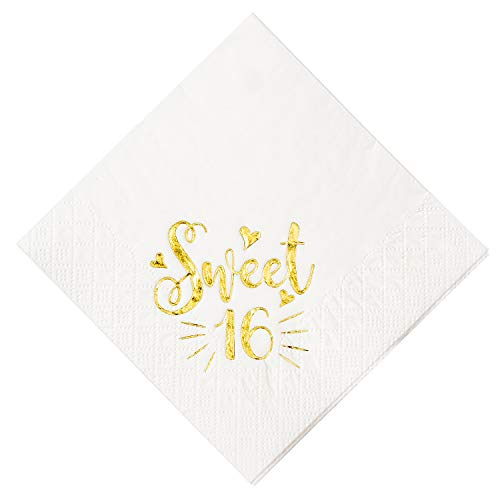 """Crisky Sweet 16 Cocktail Napkins for 16th Birthday Decorations Candy Table Decor, Beverage Napkins Sweet 16 Birthday Supplies, 50 Pcs, 3-Ply, Gold , 4.9"""" x 4.9"""" Folded"""