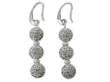 Klaritta Shamballa-Ohrringe mit drei weißen Kristallen, Diskokugeln, E112