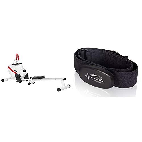 SportPlus Vogatore per Casa, Sistema Frenante Magnetico Silenzioso Esente da Manutenzione & Fascia Toracica Bluetooth 4.0 con Rilevatore Frequenza Cardiaca per iOS (da 7.1), Android (da 4.3)
