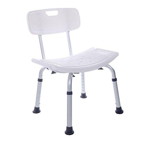 SUKONG お風呂椅子 シャワーチェア 入浴用 軽量 背もたれ付き 高さ調節可能 介護用品(ホワイト)