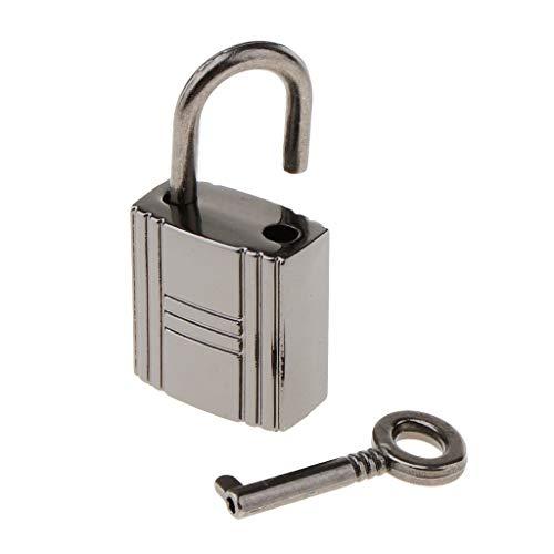 freneci Square Padlock Travel Luggage Suitcase Bag Lock with Key - Greyish Black, as described