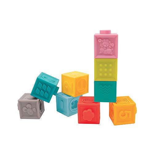 Ludi Cubes emboîtables Jouet d'éveil | Set 9 pièces encastrables - Jeu d'empilement et de Construction en Plastique Souple | Développement motricité Fine | À partir de 10 Mois