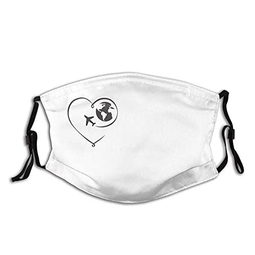 Cyan-Flugzeugmaske mit 2 Filter, atmungsaktive verstellbare Filter Maske Sturmhaube für Männer Frauen & Jugendliche-Art Herz mit Globus und Flugzeug Liebe zum Reisen