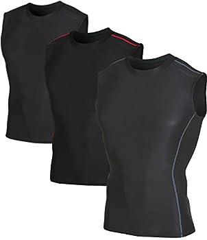 DEVOPS 3 Pack Men s Athletic Compression Shirts Sleeveless  Large Black/Black/Black