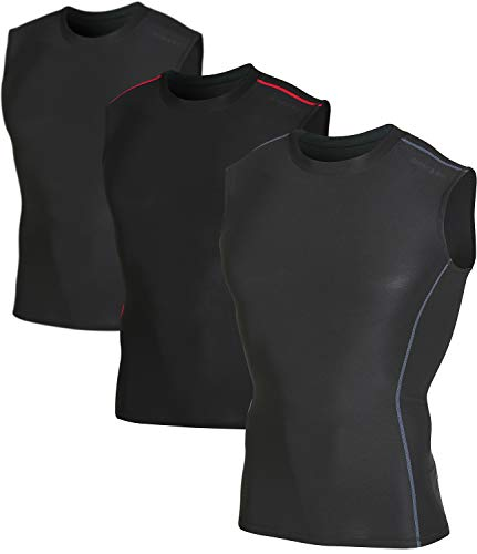 DEVOPS 3 Pack Men's Athletic Compression Shirts Sleeveless (Large, Black/Black/Black)