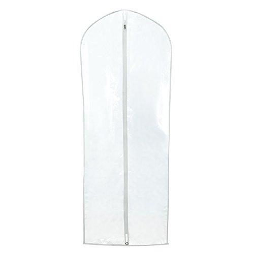 Hangerworld 6 Fundas para Ropa 152cm Impermeable Transparente Cremallera y Bordes Blanco Vestidos