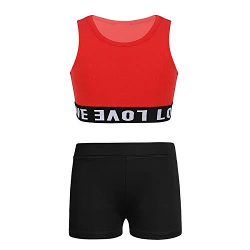Freebily Ropa Deportiva de Danza para Niñas Tankini Conjunto Maillot de Gimnasia Rítmica Crop Top Pantalones Cortos Deportivo Correr Yoga Fitness Rojo&Negro 7-8 años