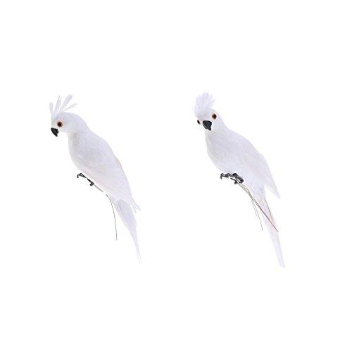 2 Stück weiße Papagei Ara Dekofigur für Balkon, Zaun, Baum Terrasse und Garten Deko