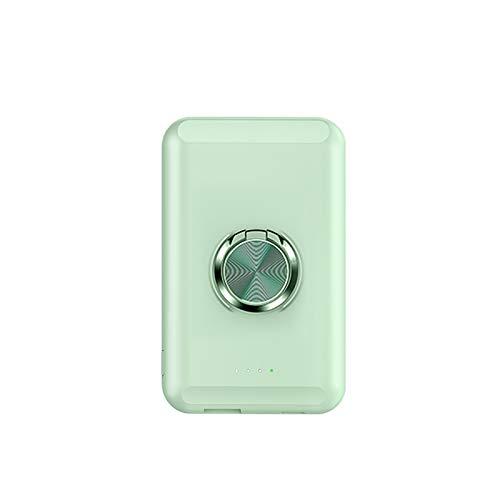 15W Banco De Energía Inalámbrico Magnético Con Soporte De Anillo Adecuado Para Mag-Safe IPhone12 / 12Pro/ 12ProMax/ 12Mini Batería Externa 5000Mah Carga Rápida (Cian claro)