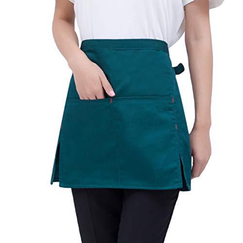 Baijiaye Delantal de Cintura Cocina Camarero Delantal de Corto Mini Delantal con Bolsillos para Mujeres Hombres Cocinero Verde