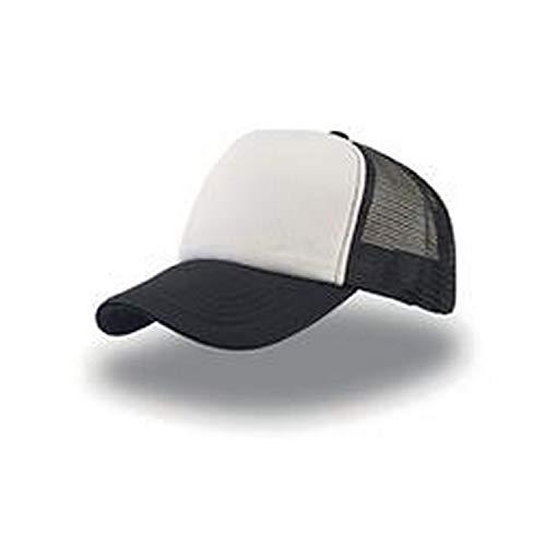 Rapper Atlantis - Gorra visera rejilla trucker cap unisex color Blanco Negro - Talla única, cierre ajustable de botones pvc a presión