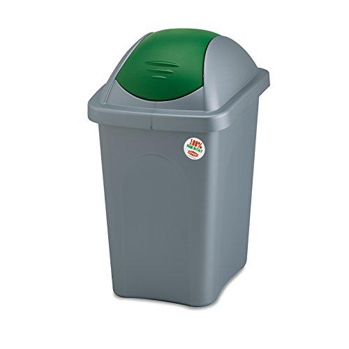 Mülleimer 30 Liter mit grünem Schwingdeckel robust und abwaschbar • Mülleimer Papierkorb Abfalleimer Abfallbehälter Mülltonne Eimer Mülltrennung