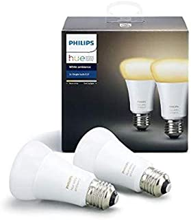 Philips Hue White Ambience Twin pack A19 E27 60W Equivalent Dimmable LED Smart Bulbs (Compatible with Amazon Alexa, Apple ...