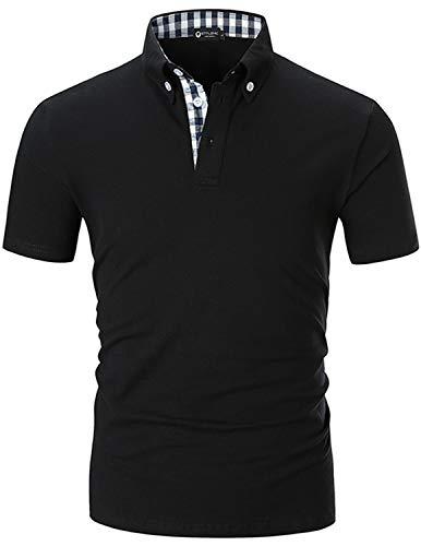 STTLZMC Polo para Hombre de Manga Corta Casual Trabajar 100% Puro Algodón Slim Camisas Tennis