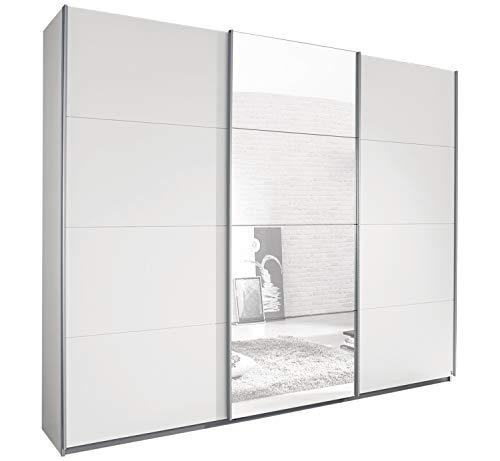 Schwebetürenschrank Kleiderschrank Schlafzimmerschrank | 3-türig | Dekor | Alpinweiß | mit Spiegel | 271x210x62 cm