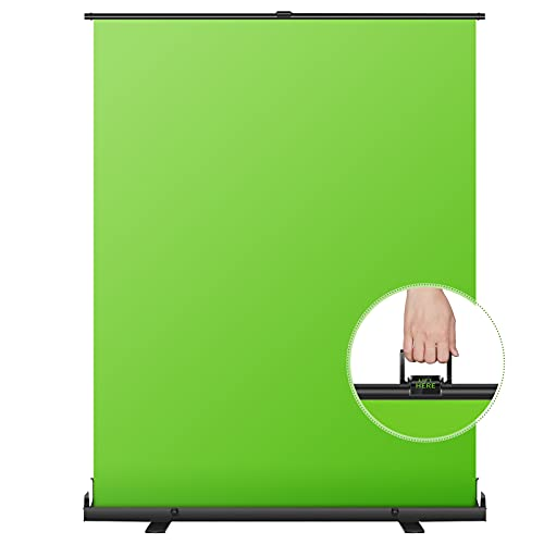 Neewer 5x6 ft/1.5x1.9m Green Screen Green Backdrop, Portable Collapsible Chromakey Background, Pull-up Style with Auto- Locking Frame, Solid Aluminium Base for Photo Video, Live Game, Tiktok Video